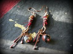 Gypsy earrings textile wrapped with glass foiled buddha by quisnam, $35.00