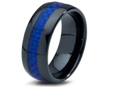 Ceramic Wedding Band,Mens Ring,Mens Wedding Bands,Custom Made,Rings,Blue Carbon Fiber,8mm,Engraving,Mans,Anniversary,His,Set,Size,Women,10