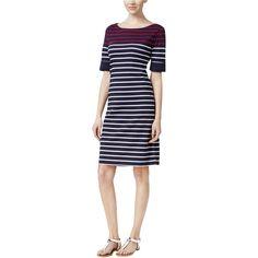 dd83f346da6 Karen Scott Womens Striped Elbow Sleeves Casual Dress