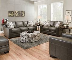 Slate Gray Sofa & Love Seat w/ Nailhead Trim Transitional Living Room Glam Living Room, Ottoman In Living Room, Living Room Sectional, Living Room Sets, Living Room Furniture, Round Tufted Ottoman, Sectional Sofa With Chaise, Sofa Sofa, Ottoman Decor