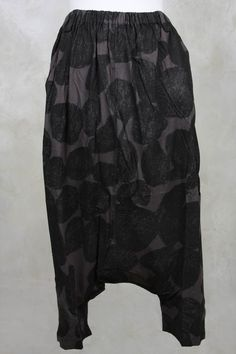 Drop Crotch Printed Pant in Grey - Moyuru