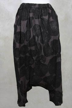 Drop Crotch Printed Pant in Grey - Moyuru