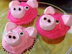 Perfect Piggies!  Pig Cupcakes  http://www.chatbugkaren.com/2011/09/25/baby-shower/#