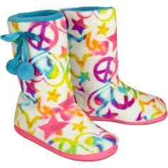 Dreamy Peace Star Booties slippers ($26) ❤ liked on Polyvore featuring shoes, slippers, boots, gift and girls