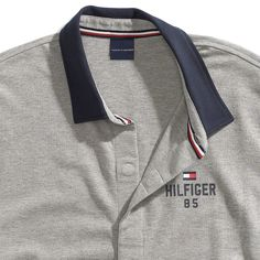 Tommy Hilfiger Custom Fit Colorblock Polo - Sport Grey Heather S Custom Polo Shirts, Mens Polo T Shirts, Pique Polo Shirt, Sports Shirts, Collar Shirts, Collar Designs, Shirt Designs, Camisa Polo Tommy, Sport Shirt Design