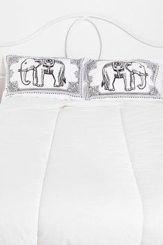 Eastern Elephant Pillowcase Set- Black & White One from Urban Outfitters. Saved to Home Improvement. Elephant Pillow, Elephant Love, Elephant Tapestry, Elephant Print, Duvet Covers Urban Outfitters, Pillowcases & Shams, Pillow Shams, Apartment Essentials, Magical Thinking