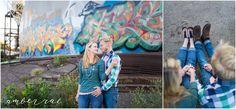 Engagement Photo Outfit Ideas. Blue green plaid, pink tie, green sweater, blue jeans, graffitti.   AmberRaePhoto_Engagement_Minneapolis_MN_0007.jpg