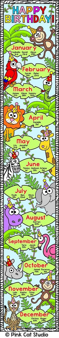 Jungle Theme Birthday Chart - Editable for any Language: This adorable jungle / wild animals theme birthday board will look fantastic in your classroom! By Pink Cat Studio Jungle Theme Classroom, Jungle Theme Birthday, Classroom Decor Themes, Classroom Displays, Kindergarten Classroom, Classroom Activities, Birthday Bulletin Boards, Classroom Birthday, Birthday Board