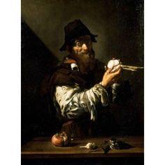 Old Man with Onions by Jusepe De Ribera (1591-1652) Canvas Art - Jusepe de Ribera (24 x 36)