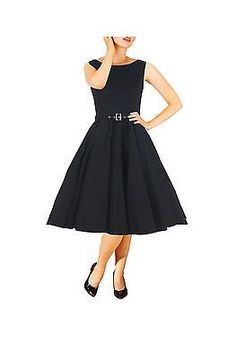 c9e828240f06 Details about VINTAGE STYLE 1950's BLACK ROCKABILLY SWING EVENING DRESS  HEPBURN NEW AUDREY