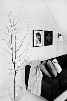 Easy Room Decor: 6 Ways to Make a Big Visual Impact With Branches. Go REALLY tall Grab a sturdy container, grab a really, really tall branch, and add an eye-catching element to just about any room of the home. Seen on Nordic Design.