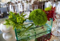 Green trick carnations with hellebores, etc.  Stoneblossom Florals' Centerpieces