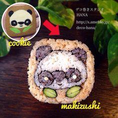 『パンダクッキーをデコ巻にしてみました』の飾り巻き寿司 クッキーが可愛すぎたので、デコ巻に◡̈♥︎