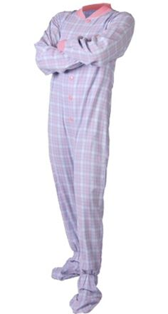 Big Feet Adult Footie Pajamas 108 Baby Blue  amp  Pink Plaid for Men or  Women 758311501