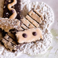 No Bake Chocolate Protein Bars with Vanilla Coconut Icing.