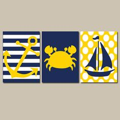 Nautical Wall Art Nursery Bathroom Canvas Navy Blue Yellow Preppy Artwork Ocean Girl Boy Anchor Boat Crab Pick Colors Set of 3 Prints Three