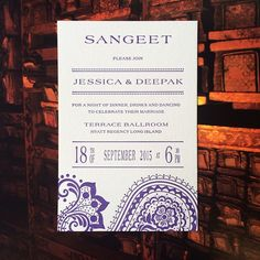 This #Indian #wedding insert card is a #Sangeet invitation in a #violet #Regency design from our gallery.