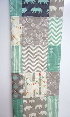 Modern-Baby Quilt-Organic-Baby Boy Bedding-Birch Fabric-Chevron-Gray-Grey-Aqua-Woodland Animal-Elephant-Deer-Baby Blanket