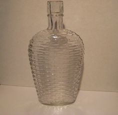 Antique Basket Weave Clear Glass Whiskey Flask by StarPower99, $10.00
