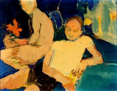 "William Theophilus Brown - ""Two men in an Interior"", 1960 - Painting - 11 x 14 in. Expressionist Artists, Abstract Expressionism, Abstract Art, Painting Collage, Figure Painting, Bay Area Figurative Movement, Art Database, Realism Art, American Artists"