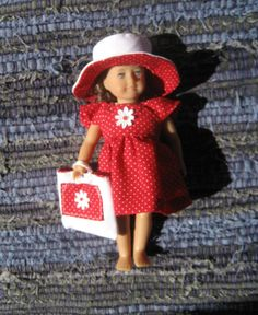 Red Dotted Pinafore-style Sundress, Broad-brimmed Hat, and Tote Bag for Mini American Girl Doll (6.5 inch Doll)