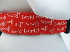 Dog Collar Red Bark Woof by CamargoCreations on Etsy,