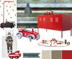 stoere kinderkamer, brandweerkamer, jongenskamers, kinderkamers, jongenskamer voorbeelden, jongenskamer inspiratie Red Color Pallets, Kids Bedroom, Bedroom Decor, Kidsroom, Fire Trucks, Room Inspiration, Playground, Lockers, Sweet Home