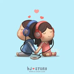 "Kate HJS (korea ) op Instagram: ""Love is... listening to music together! #hjstory #music #love #cute #listen"""