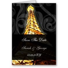 gold Eiffel Tower French wedding Save the Date Greeting Cards