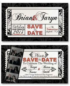 www.tarynsaurusrox.com  Save the Dates - Movie Themed - Wedding - Vintage Hollywood - printed from rushflyers.com