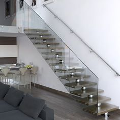 Modern stairs come in many styles and designs that can be real eye-catcher in the different area. We've compiled 99 modern models of stairs that can give Contemporary Stairs, Modern Stairs, Modern Interior Design, Interior Design Living Room, Escalier Design, Glass Stairs, Floating Stairs, Modern Minimalist House, Wooden Staircases