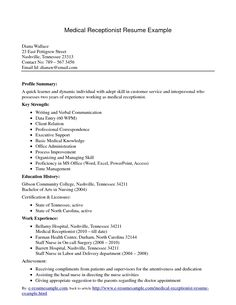 Resume For Medical Receptionist Professional Resume Help Free  Httpwwwresumecareer