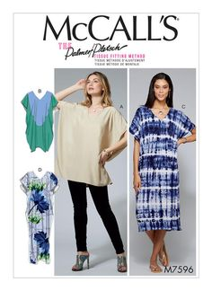 Palmer/Pletsch caftan and tunic sewing pattern for McCall's. M7596 Misses' V-Neck Pullover Tunic and Dresses