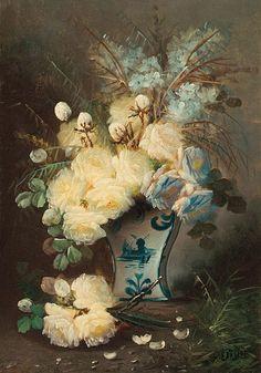 Naturaleza muerta con rosas en un florero azul- M. Carlier