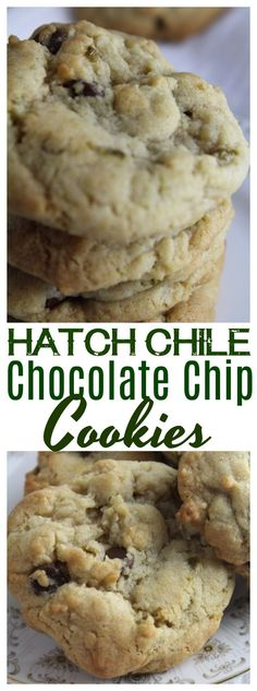 Hatch or Anaheim green chiles mixed into chocolate chip cookies for a classic twist on one of America's favorite comfort foods! Hatch Green Chili Recipe, Green Chili Recipes, Hatch Chili, Chile, Sweets Recipes, Mexican Food Recipes, Mexican Desserts, Drink Recipes, Yummy Recipes