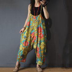 b268fcb2d3 Flowers Printed Harem Jumpsuits Cotton Linen Baggy Womans Dungarees