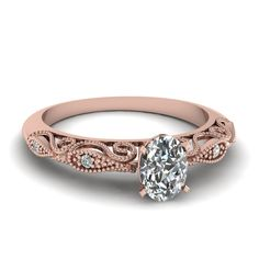 rose shaped rings with diamonds | Oval Shaped Diamond Engagement Rings With White Diamond In 18k Rose ...