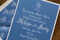 Reahearsal dinner invitations with the bride and groom's initials as a liner! www.TheCharmStudio.com