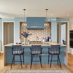 Decorating Ideas for Behr Blueprint: 2019 Color of the Year Behr Blueprint, their 2019 Color of the Year, brings fresh color to a kitchen. Image: Behr Behr recently announced Blueprint as their Trending Paint Colors, Best Paint Colors, Kitchen Paint Colors, Paint Colors For Home, Home Interior, Kitchen Interior, Kitchen Decor, Kitchen Ideas, Interior Design