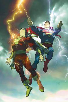 Superman & Shazam - artist unknown