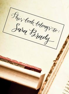 This book belongs to - Your Name - Custom Handwritten Calligraphy Wooden Stamp - Bookplate - Elle Style