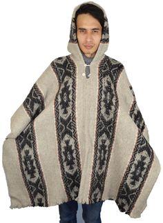 South American Handmade wool poncho Inca Grey by WigwamShop on Etsy Wool Poncho, Kimono Top, American, Trending Outfits, Grey, Handmade, Vintage, Tops, Women