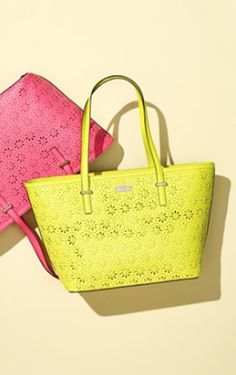 daisy perforations on the lemon #yellow Kate Spade leather tote http://rstyle.me/n/kbaehr9te
