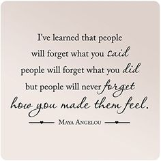35x24 Maya Angelou Ive Learned That People Will Forget What You Said Did Never How You Made Them Feel Wall Decal Sticker Art Mural Home Decor Quote Love *** More info could be found at the image url. (This is an affiliate link) #WallStickersMurals