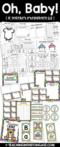 Teacher pregnancy printables and baby shower printables pack.  If you're a pregnant teacher, or know one, this resource was made for you! It includes activities to use with your students, as well as a set of baby shower printables!