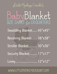 Handy for sewn or crochet/knit blanket sizing! Baby blanket size chart --thanks to Rebecca of Little Monkeys Crochet : Crochet Crafts, Sewing Crafts, Sewing Projects, Sewing Ideas, Crochet Projects, Crochet Stitches, Knit Crochet, Crochet Patterns, Booties Crochet