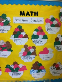 Connecting the colored papers to food allows students to make a real-world connection to what they are learning. The different ice cream flavors allow students to create different fractions to represent what is in their sundae they created. 3rd Grade Fractions, Teaching Fractions, Fourth Grade Math, Second Grade Math, Math Fractions, Teaching Math, Equivalent Fractions, Math Math, Sixth Grade