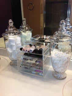 Makeup Storage, Acrylic makeup organizer and glass apothecary jars!