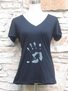 Roswell Glow in the Dark Alien Hand  Women's Screenprinted Shirt