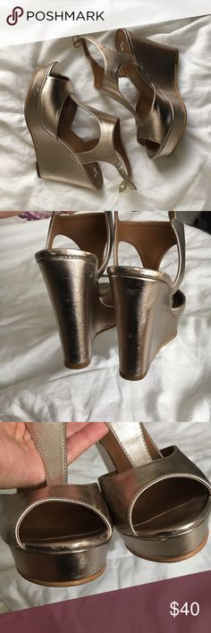 BP Gold Metallic Wedge Platform Heels T-strap heels, 1 inch platform. Scuffs as shown. Three holes for buckle adjustment. Heel and platform are 3 1/2 inches all together. NOT Steve Madden, BP Nordstrom brand Steve Madden Shoes Heels